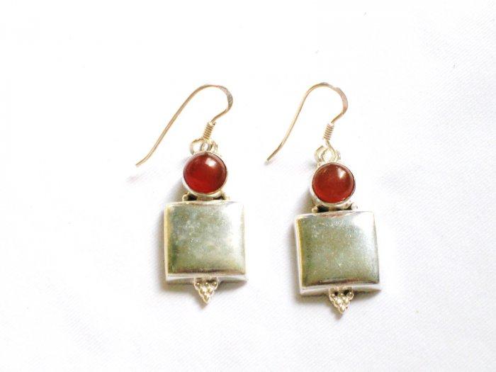 ER075 Carnelian Earrings set in sterling silver