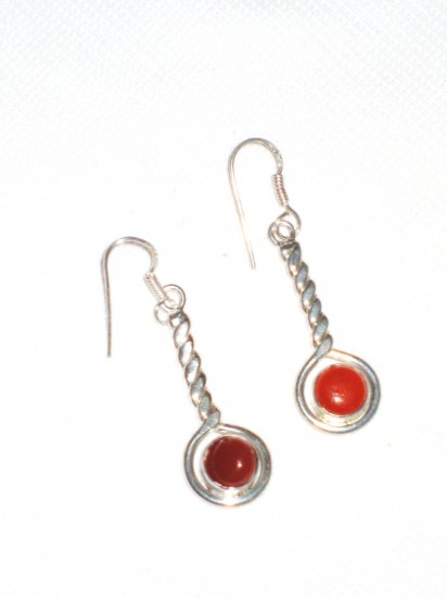ST389 Carnelian Earrings set in sterling silver