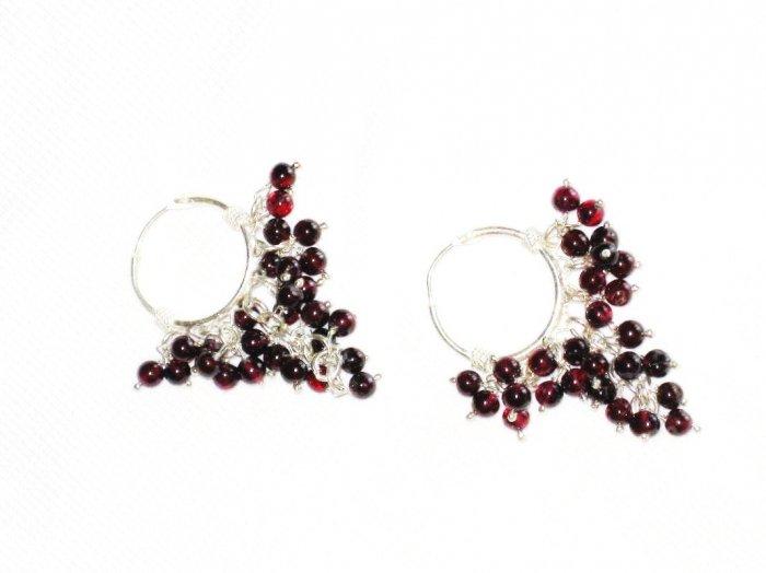 ST377 Garnet Earrings set in sterling silver