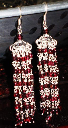 ST382 Garnet Earrings set in sterling silver