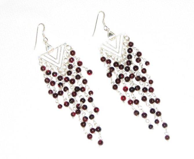 ST385 Garnet Earrings set in sterling silver