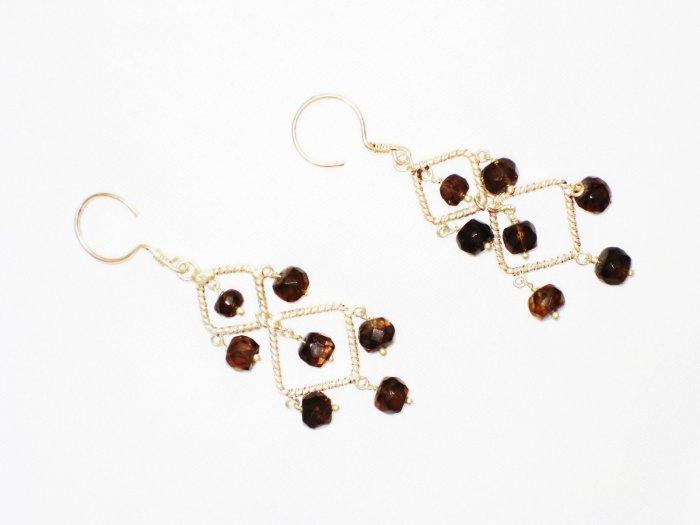 ST598 Garnet Earrings set in sterling silver