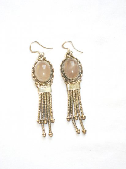 ER008 Rose Quartz Earrings set in sterling silver