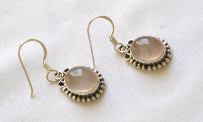 ER016 Rose Quartz Earrings set in sterling silver