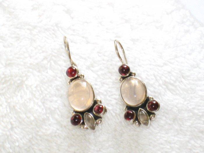 ER092 Rose Quartz Earrings set in sterling silver