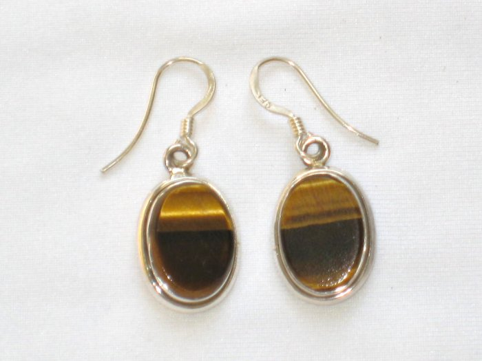 ER004 Tiger's Eye Earrings set in sterling silver