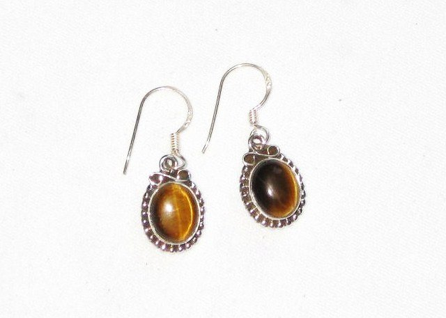ER021 Tiger's Eye Earrings set in sterling silver