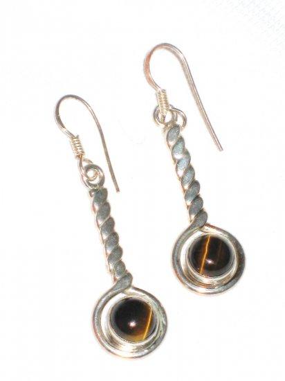 ST394 Tiger's Eye Earrings set in sterling silver