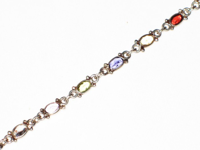ST584 Mixed Cut Stones Bracelet in Sterling Silver