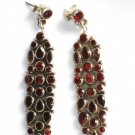 ER044 Mixed Cut Stones Garnet Earrings in Sterling Silver