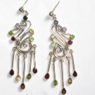 ER055 Mixed Cut Stones Earrings in Sterling Silver