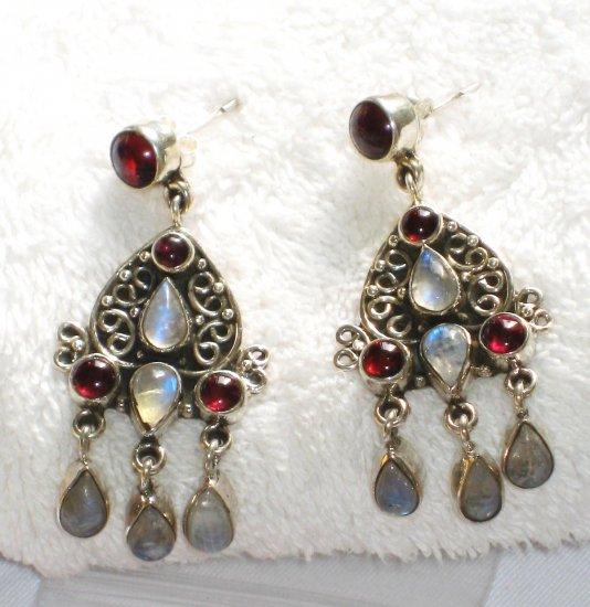 ER069 Cut Stone Moonstone and Garnet Earrings in Sterling Silver
