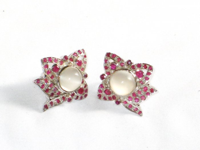 ER071 Cut Stone Opal and Ruby Earrings in Sterling Silver