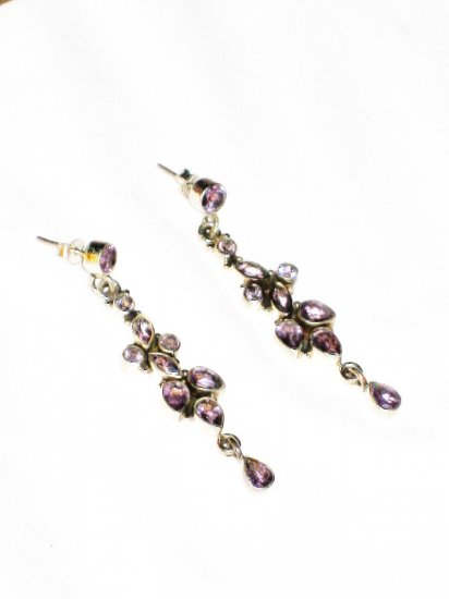 SOLD - ST581 Cut Stone Amethyst Earrings in Sterling Silver