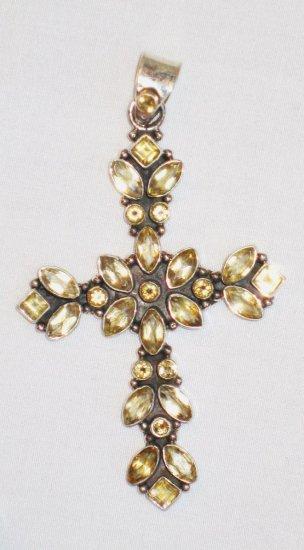 PN097       Citrine Cross Pendant in Sterling Silver