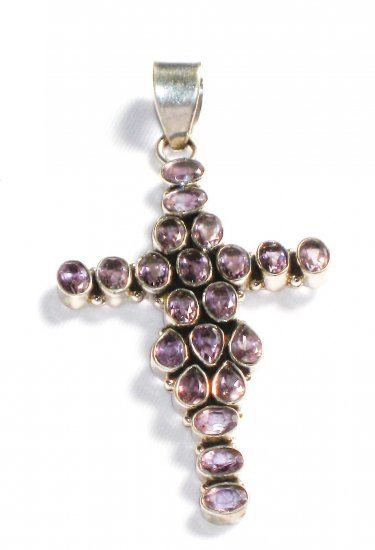 ST206       Amethyst Cross Pendant in Sterling Silver - SOLD