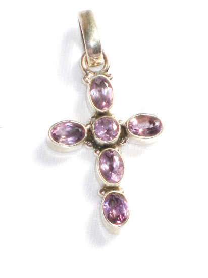 ST223     Amethyst Cross Pendant in Sterling Silver