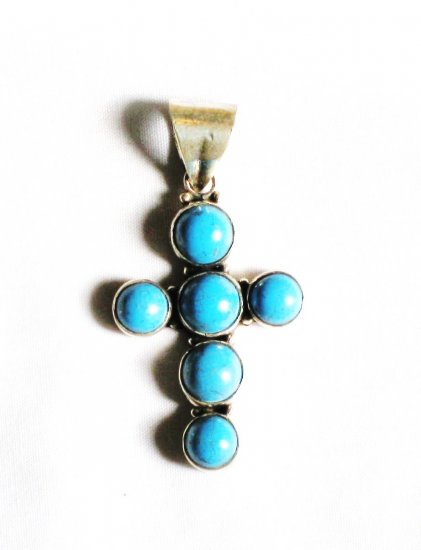 PN255  Turquoise Cross Pendant in Sterling Silver