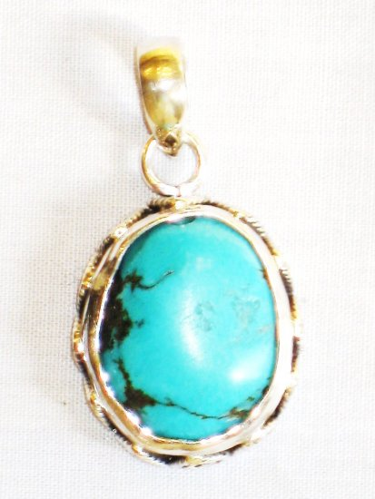 PN327  Turquoise Pendant in Sterling Silver