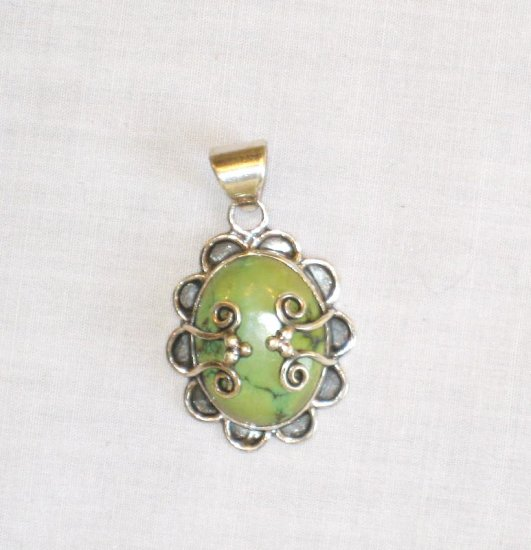 PN420  Turquoise Pendant in Sterling Silver