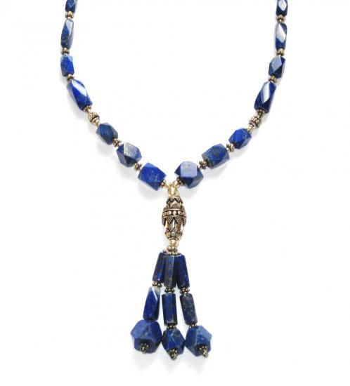 ST058       Lapis Lazuli Necklace in Sterling Silver