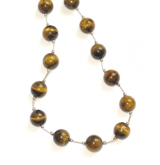 ST306       Tiger's Eye 18 Inch Necklace  in Sterling Silver