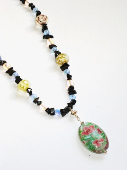 ST296      Murano Glass Necklace, Earrings and Bracelet  in Sterling Silver