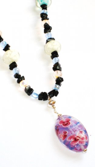 ST298     Murano Glass Necklace, Earrings and Bracelet  in Sterling Silver