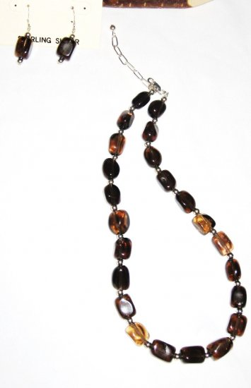 ST421    Smoky Quartz Necklace and Earrings Set in Sterling Silver