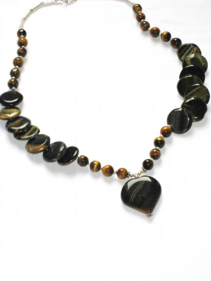 ST059 Tiger's Eye Necklace in Sterling Silver