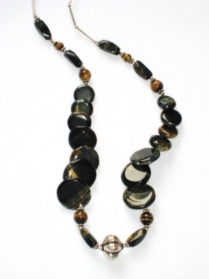 ST097 Tiger's Eye Necklace in Sterling Silver