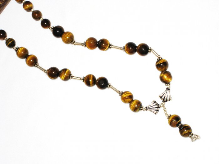ST523 Tiger's Eye Necklace in Sterling Silver