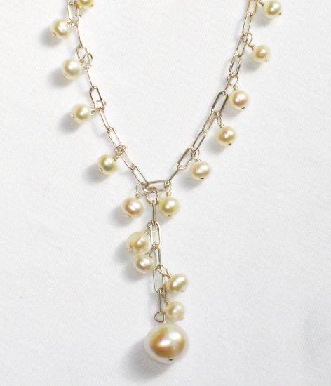 ST283  Pearl Necklace, Bracelet  and Earrings Set in Sterling Silver