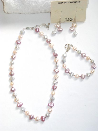ST288  Pearl Necklace, Bracelet  and Earrings Set in Sterling Silver