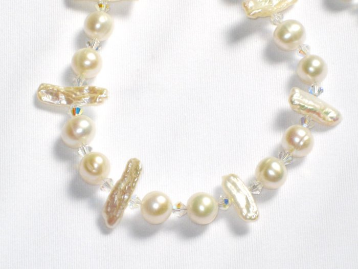 ST327 Pearl Necklace and Earrings Set in Sterling Silver