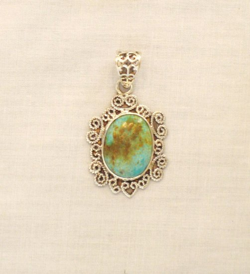 PN398 Turquoise Sterling Silver Pendant