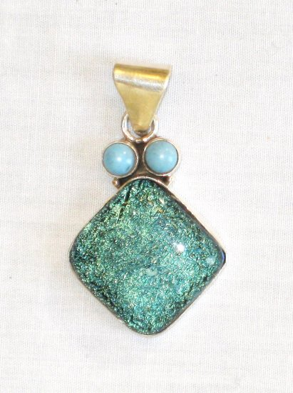 PN413 Dichroic Glass Sterling Silver Pendant - SOLD