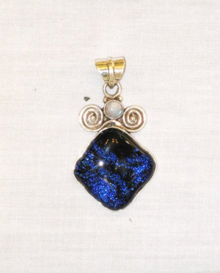 PN399 Dichroic Glass Sterling Silver Pendant - SOLD