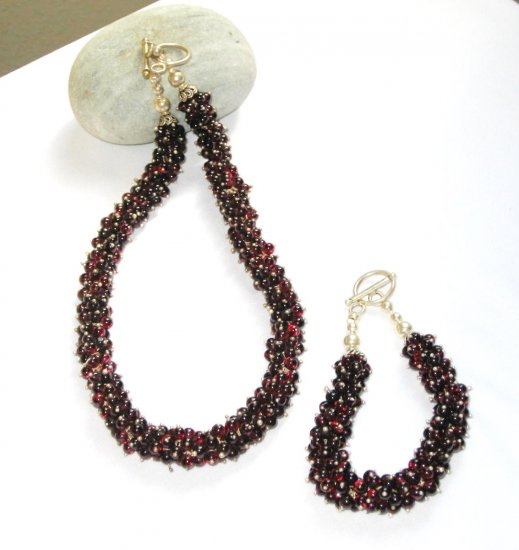 ST351 Garnet Necklace and Bracelet Set  in Sterling Silver