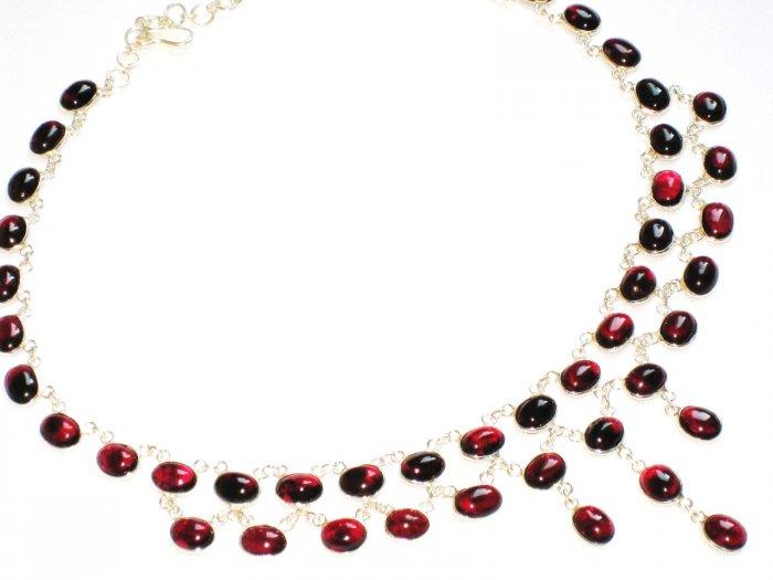 ST373 Garnet Necklace and Bracelet Set  in Sterling Silver