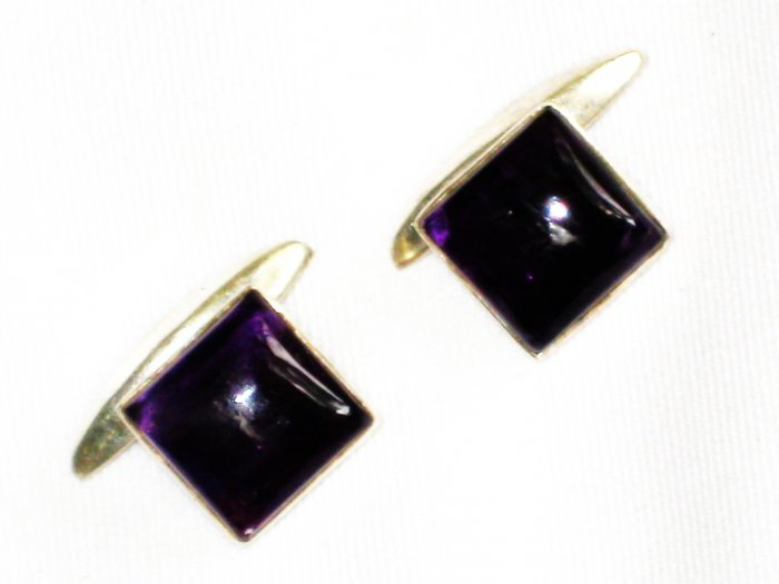 ST638      Amethyst Cufflinks in Sterling Silver