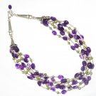 ST455     Amethyst Necklace  in Sterling Silver