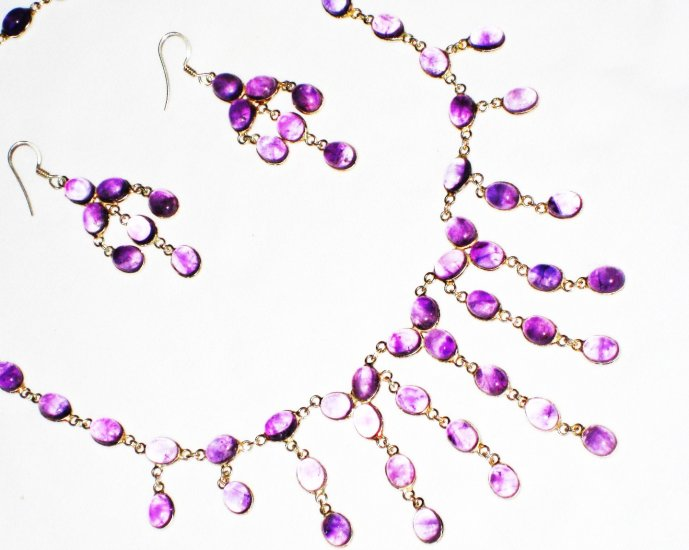 ST583     Amethyst Necklace, Bracelet and Earrings Set  in Sterling Silver