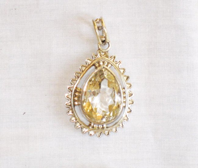 PN387 Citrine Pendant in Sterling Silver