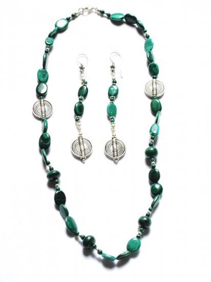 ST190 Malachite Necklace and Earrings Set in Sterling Silver