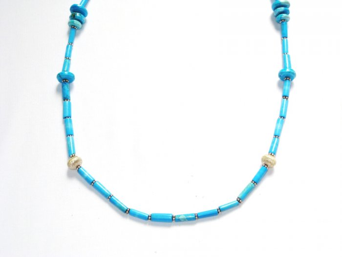 ST196 Turquoise Necklace and Earrings Set in Sterling Silver