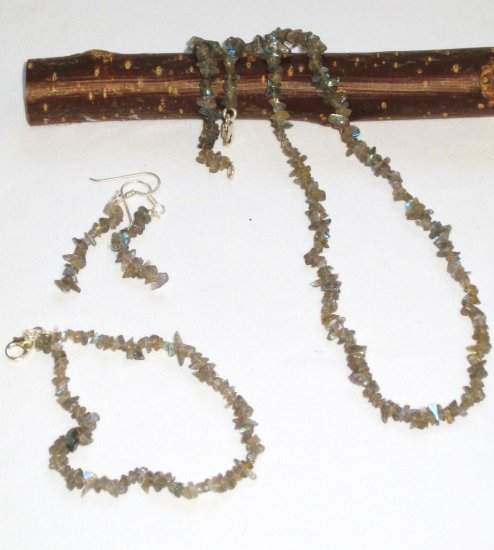 ST319 Labradorite Necklace, Bracelet and Earrings Set in Sterling Silver