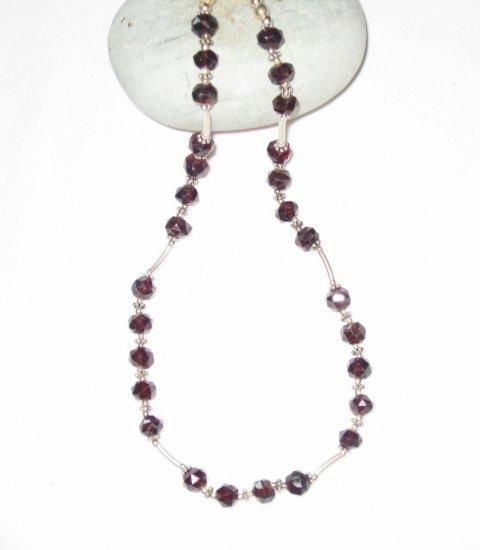 ST468 Garnet Necklace in Sterling Silver