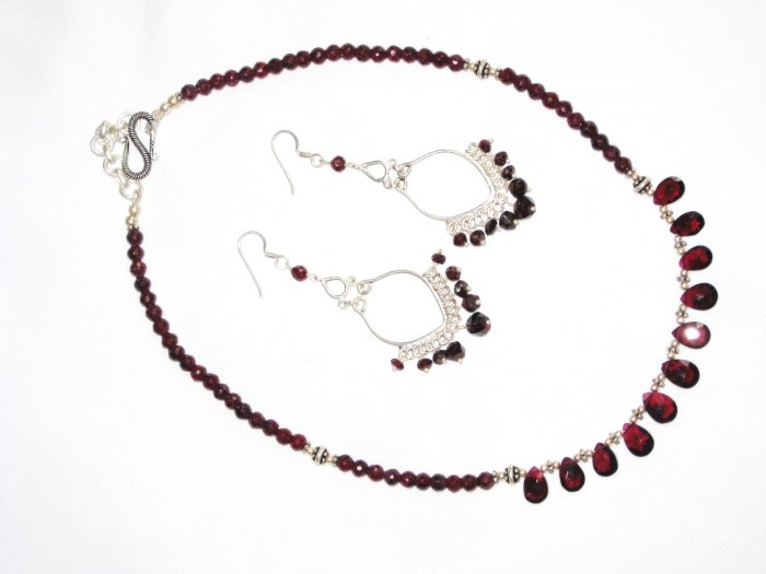 ST591 Garnet Necklace and Earrings Set  in Sterling Silver