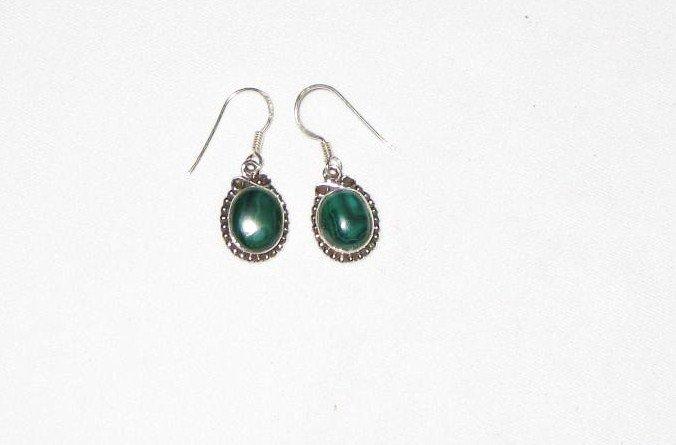ER019 Malachite Earrings in Sterling Silver